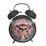 Cute mini metal kids digital bell alarm clock/fancy travel digital double bell alarm clock/black digital bell alarm clock