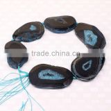 Big Size Fashion Black & Blue Faceted Agate Druzy Stone Beads, Slab Agate Gem stone Jewelry Beads