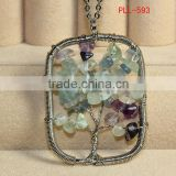 wholesale Tree of life charms a silver chain with moonstone chips necklace non tarnish silver