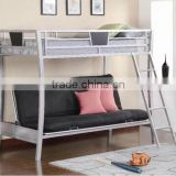 Metal youth loft bunk bed with futon chair
