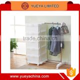 Eco-Friendly PP stainless steel 5 Tiers drawers Plastic Storage Shoes Clothes rack Organizer