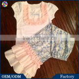 New ltems Gorgeous Blue Pink Girls Baby Ruffle Pants Shirts Outfits Cotton Children Frocks Designs Kids Clothes