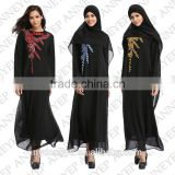 chiffon flower muslim dress/ jnj 3 Arabian middle east slamic fashionable abaya kaftan dresses/ black yellow red
