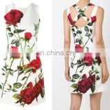 2017 Newest Baroque Floral Printed Lace Dress For Elgant Women
