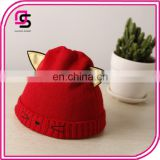 Hot selling cute design baby cap children knitted cap, ox horn cap