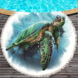 Turtle Round Beach Towel With Tassels For Summer Microfiber Octopus 150cm Swimming Bath Towels Picnic Blanket