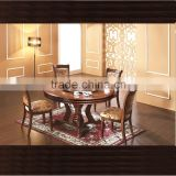 Wooden design 4seats round rotating dining table