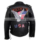 Buffalo Black Leather Motorcycle Biker Cruiser Jacket Coat Patches