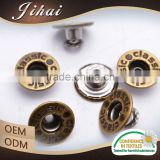 China Textile Outlook Fastener Metal Alloy Shiny Gold Garment Jeans Button
