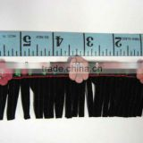 Velvet Jacquard w/beads Fringe Lace Trim Sew on VELVET WITH JACQUARD/BEADS FRINGE TRIMMING