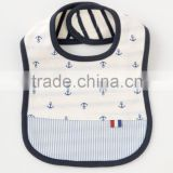 Japanese wholesale products high quality cute and new design reversible bibs for baby cute marine pattern
