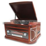 Antique wooden desktop turntable vinyl record player gramophone with radio,CD/MP3/cassette/USB player,usb and PC encoding,LED