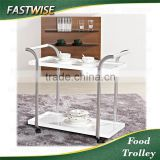 China high quality 2 layers rectangle white food trolley cart with fancy design for restaurant and hotal supplies