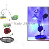 Wholesale Colorful Automatic Hanging Solar Light Bird Feeder With Stainless Steel Plate
