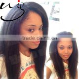 18inch Brazilian Virgin Human Hair Natural Color Kinky Straight Full Lace Wig Virgin Brazilian Hair Lace Wig