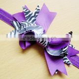 Cheap christmas zebra Printed grosgrain ribbon bow headbands for baby girls                                                                         Quality Choice
