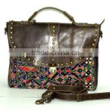 Vintage Banjara Leptop Bag Gypsy Leather Handbag Vintage Banjara Handbag Leather Handmade Briefcase Bag