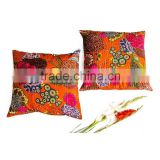 Indian Fruit Print Kantha Cushion Cover Tropical Kantha Cushion Pillow Covers Set Of 2 Pcs