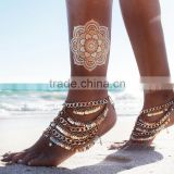 Foreign trade jewelry hot summer in Europe and America sequined tassels retro punk multilayer anklets