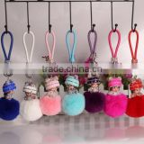 Lovely monchichi key chain luxury crystal bear hat pendant key ring monchhichi keychain birthday gift rabbit fur ball keychain
