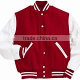 Red Wool and White Leather Sleeves Varsity Jacket , Varsity Jacket , Baseball Jackets , Customer Wool and leather Jacket