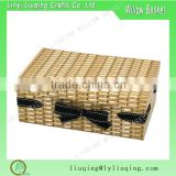 Wholesaler Wicker Effect Recycled Cardboard Gift Box Basket with lid and decorative bowknot                                                                         Quality Choice