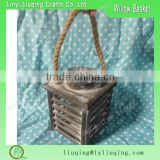 Grey wooden lantern basket /candle holder with rope handle hanging