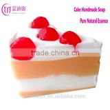Mendior Cake shaped handmade soap goat milk and cherry essential oil face soap whitening remove blackhead OEM custom brand