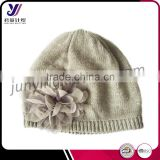 Lady fashion wool felt knit beanie hat with flower (Accept the design draft)