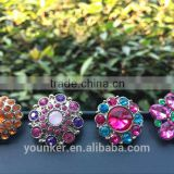 2016 rhinestone acrylic plastic colorful button sewing with shank bulk cheap high quality button flower center