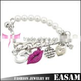 Fashion alloy chain pearl bracelet lip heart lock pearl bracelet metal chain pearl bracelet