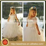 LBFG06 Beautiful Big Ruffle Ball Gown Flower Girl Dress with Short Sleeve Lace Appliqued Girls Party Dresses for Party