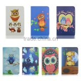 Cute night owls printing PU leather case, Folio flip stand case for Samsung T110
