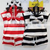 2016 Kids Stocks Cute Bowknot Girl Summer Sleeveless Stripes 3 Pcs Clothes Set, Baby Fashion Clothing