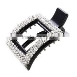 Hot Sale Geometry Pierced Siny Rhinestone Beads Hairpins Jewelries Hollow Curve Square Full Crystal Piercing Lady Barrette