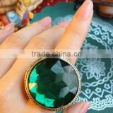Green Big Round Gemstone Cutting Flower Vintage Ring Jewelry For Women
