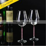 Wedding Gift Pink Crystal Goblet Coloured Long-stem Wine Glass