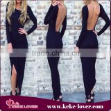 SL0031New arrival hot sale sexy dress club wear long sleeve sexy birthday dress black backless long dress women bodycon dress