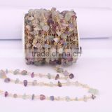 Natural Fluorite Nugget Quartz Chip Bead Rosary Chain, Gold plated Wire Wrapped Chain