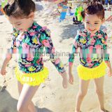 2016 children new stylish girls bathing suit ,long sleeve floral skirt fission swimsuit Wear