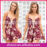 Floral print bandage fashion casual chiffon girls tops sexy women shorts lady suit