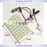 DC12V 48 SMD 5050 white or warm white Light Car interior dome lamp led reading Panel auto light with 3 Defferent Adapter