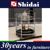 Round Buffet Kitchen Dining Serving Cart Black Stainless Steel Bottle Glass Holders Tray N6403
