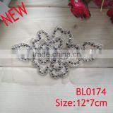 Cheap handmade sewing bead lace flower applique for dress