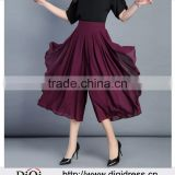 Summer Brown Black Red Green Blue Purple Chiffon Wide Leg Culottes High Pleated Waist Pants Women Asymmetry skirt