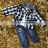 2016 New Winter Boys Clothing Suits 3 PCS Grid Coat And Hoodies And Jeans Trousers And Children Wear Ready Stock CS30725-8