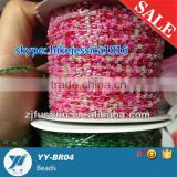 Wholesale Beaded garment loose beads/ cording bead / cheap china glass beads roll cording thread