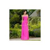 Bridesmaid Dress/Strapless A-line Chiffon Gown, Delicate Beading Along Bodice and Asymmetrical Wrap