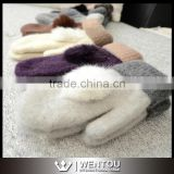 Wholesale Warm Thick Lovely Design Lady Wool knitted Gloves
