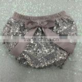 Girls Summer silver Pom Pom Shorts diaper cover Baby Sparkle Birthday grey sequin Bloomer cake smash photo prop